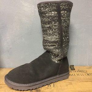 Ugg Camaya Boots Suede Sequin 9 Grey Metallic Fur